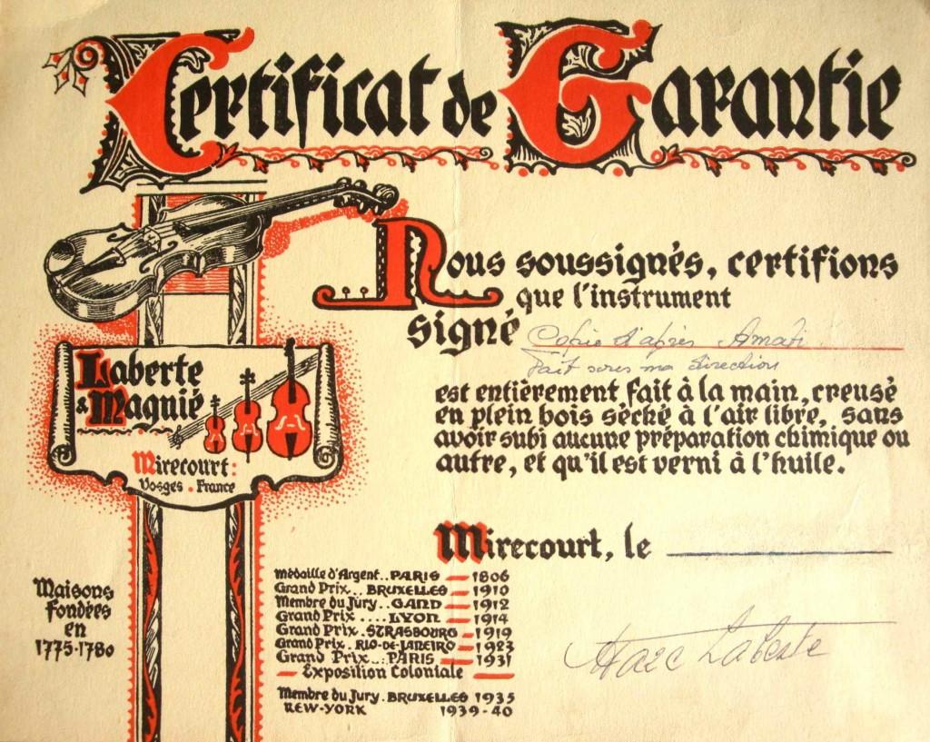 Certificat de garantie d'un instrument Laberte et Magnié