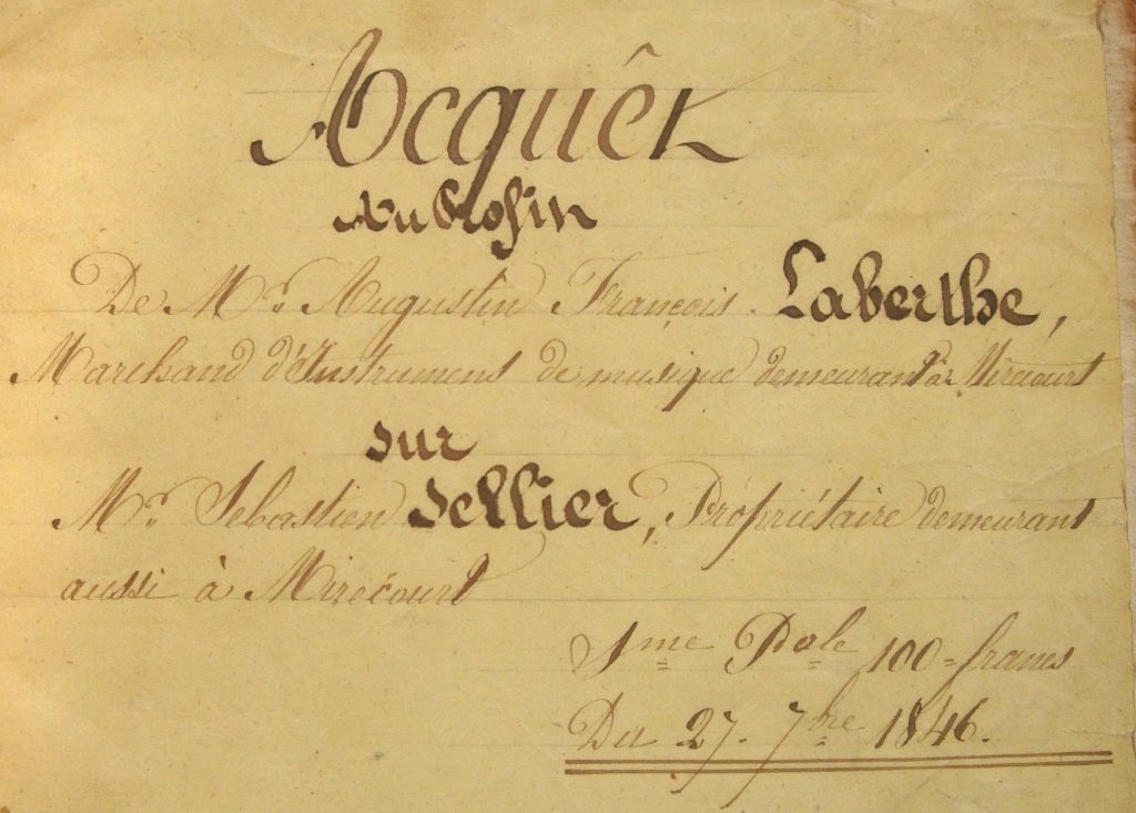 Acte daté de 1846 (Archives N. Laberte)