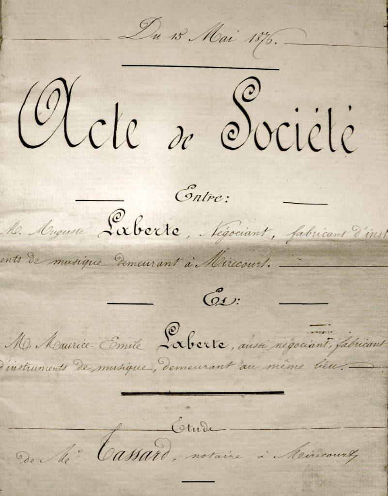 Acte Société Laberte, 1876, Mirecourt