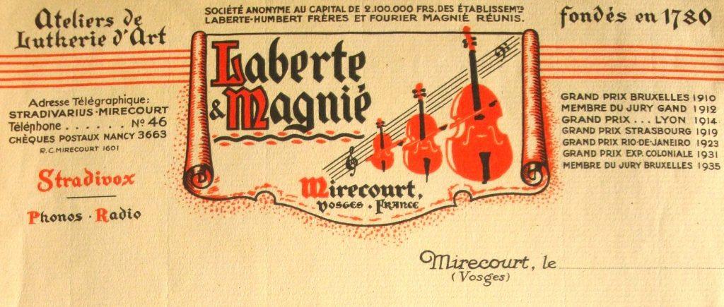 Papier à entête Laberte et Magnié (archives N. Laberte)