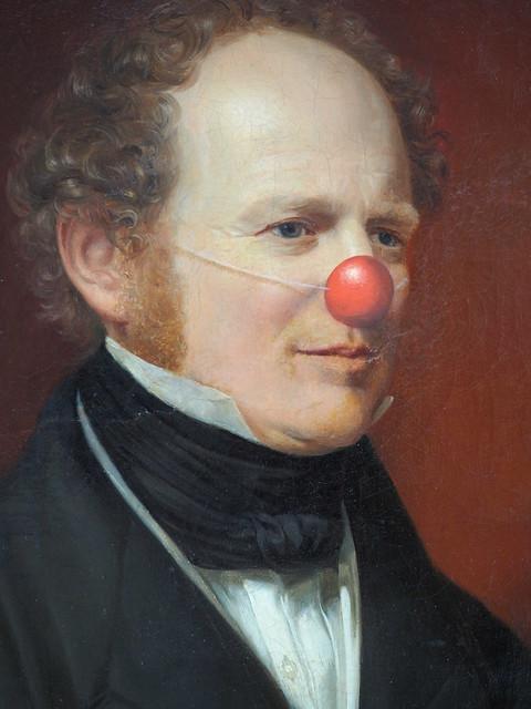 tableau de Markus Schinwald au nez rouge